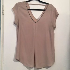 Dusty pink evening out v neck top with beading